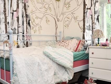 时尚手绘卧室背景墙效果图