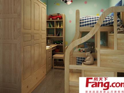 简约儿童房实木家具衣柜效果图