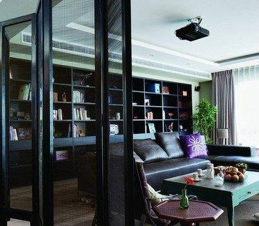 现代风格客厅与餐厅屏风隔断效果图