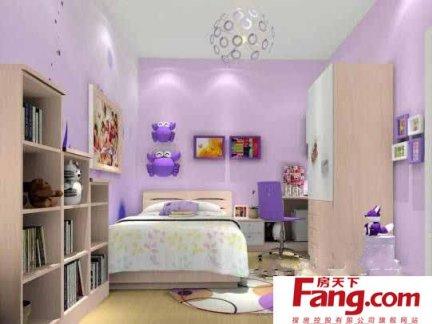 紫色学生卧室装修效果图图片