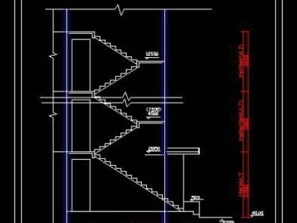楼梯cad剖面图设计装修