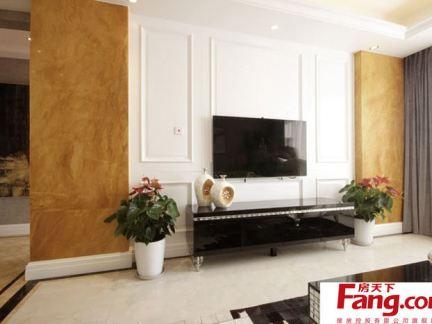 白色欧式客厅电视背景墙装修图片2014