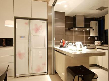 现代吧台式超小厨房效果图