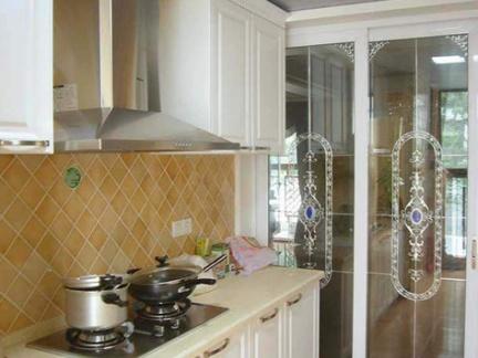 欧式开放式厨房玻璃隔断效果图图片