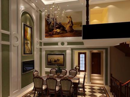 欧式风格复式客厅饭厅吊顶效果图图片
