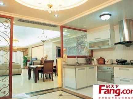 简约开放式厨房玻璃隔断效果图图片