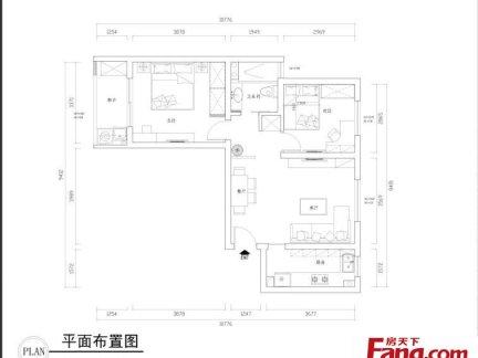 55平米两室一厅平面设计图-55平米两室一厅简约装修效果图图片