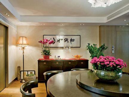 中式风格大户型餐厅背景墙中式装饰画图片
