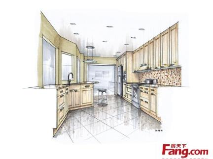 厨房室内设计手绘效果图