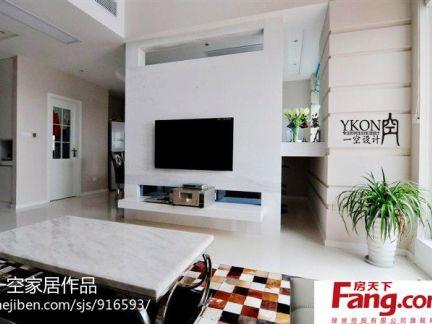 简约客厅电视机背景墙隔断效果图图片