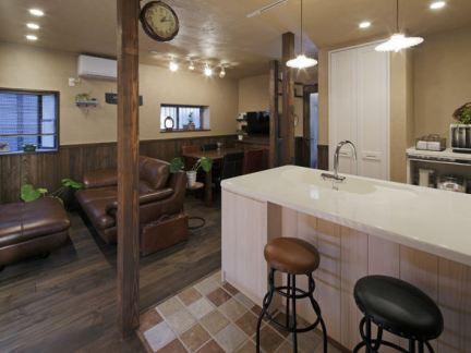 美式乡村风格开放式厨房吧台效果图图片