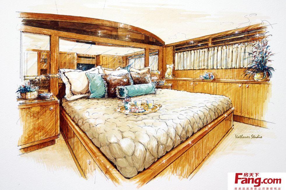 美式卧室马克笔手绘效果图