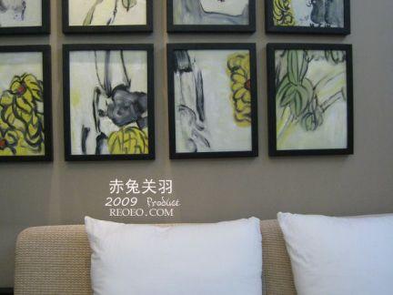 小户型中式客厅墙面挂画背景墙效果图
