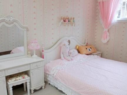 粉色小户型儿童房间布置 女生儿童房装修图片