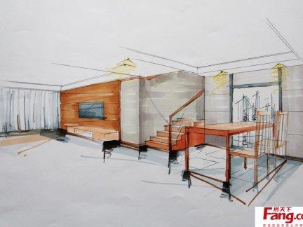 2018室内设计一点透视手绘效果图 房天下装修效果图图片