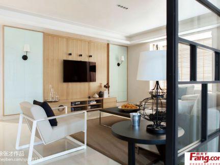 现代风格客厅隐形门电视背景墙效果图