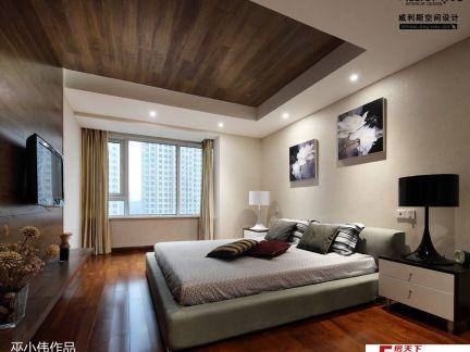 新中式卧室飘窗设计效果图图片
