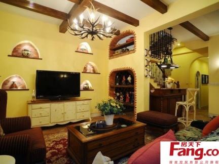 室内装修效果图 地中海风格电视背景墙装修效果图