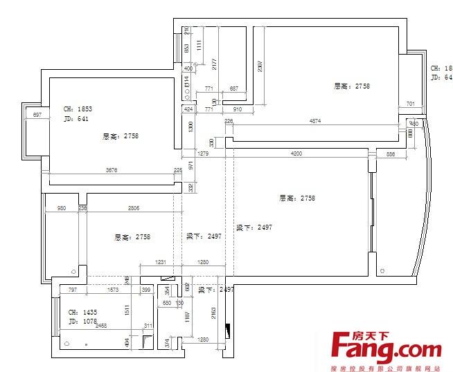 小高层两室一厅户型设计图