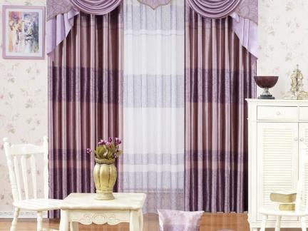 窗帘图片 紫色客厅窗帘图片