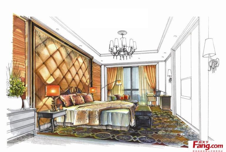 卧室室内马克笔手绘效果图