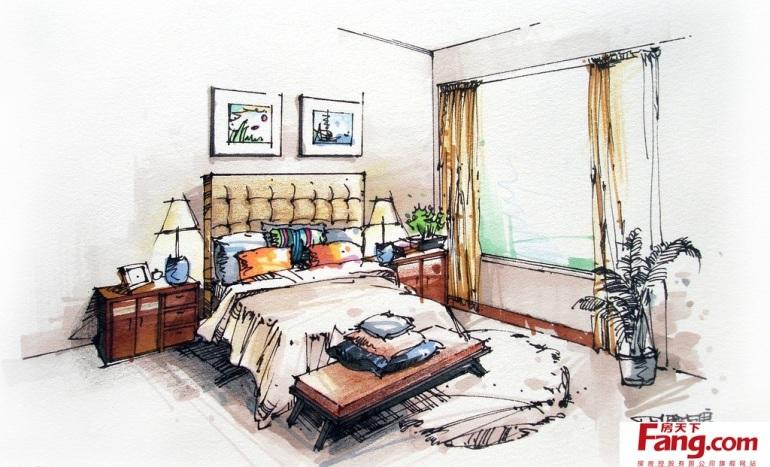 卧室室内设计手绘效果图