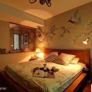东南亚风格卧室床头手绘画效果图
