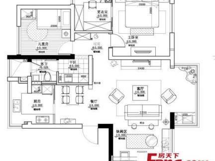 两室一厅平面布置图片