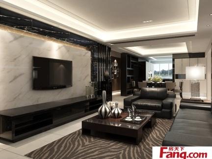 现代风格客厅装修微晶石电视背景墙
