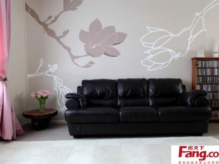 客厅沙发背景墙手绘壁画图片