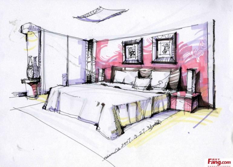 卧室手绘效果图线稿