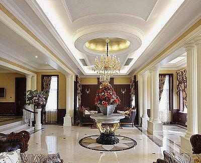 美式别墅大厅吊顶装修效果图图片