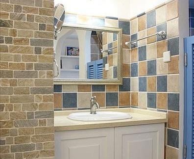 地中海风格洗手间瓷砖效果图