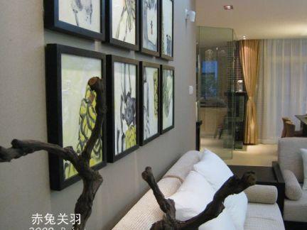 小户型中式客厅沙发背景墙图片