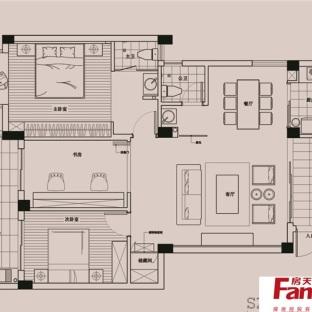 三室两厅两卫平面设计图