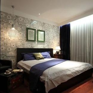 中式卧室背景墙欣赏图片