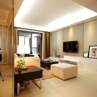 现代简约风格客厅吊顶灯带效果图图片