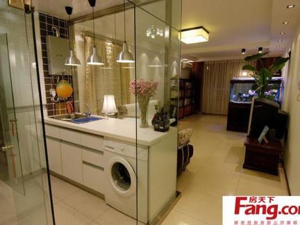 厨房与雕花镂空玻璃隔断效果图