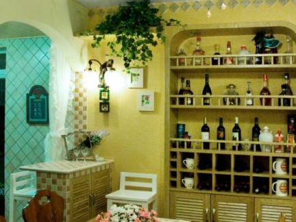 美式乡村风格70平米小户型餐厅背景墙装修效果图图片