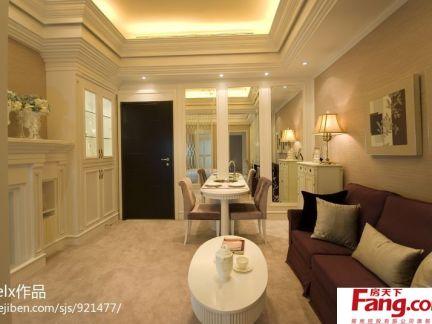欧式风格小户型客厅餐厅一体效果图