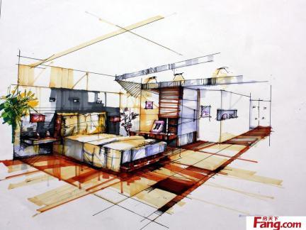 卧室室内设计手绘效果图欣赏