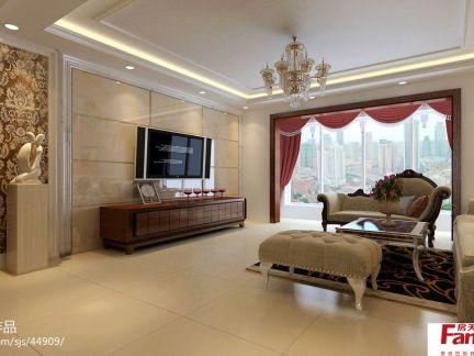 欧式客厅瓷砖电视背景墙效果图