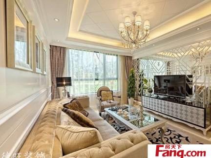 新古典欧式小户型客厅电视背景墙效果图图片