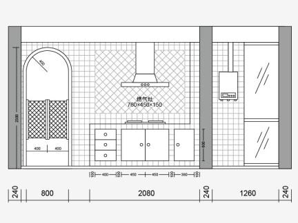 2019厨房立面图手绘-房天下装修效果图