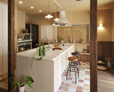 美式乡村厨房吧台装修效果图图片