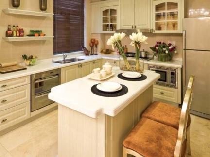 欧式厨房岛台设计效果图-2017厨房中岛效果图 房天下装修效果图