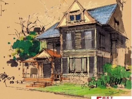 2017古风建筑手绘图片-房天下装修效果图