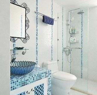 地中海风格卫生间洗手池瓷砖图片
