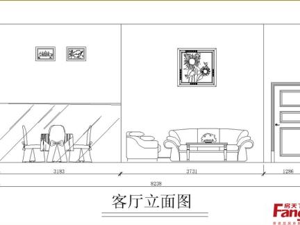 客厅手绘立面图