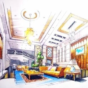 客厅设计手绘效果图-搜房网装修效果图